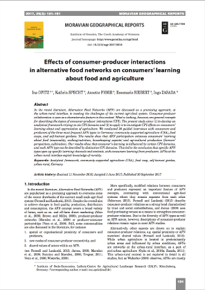 Effects of consumer-producer interactions in alternative food networks on consumers' learning about food and agriculture